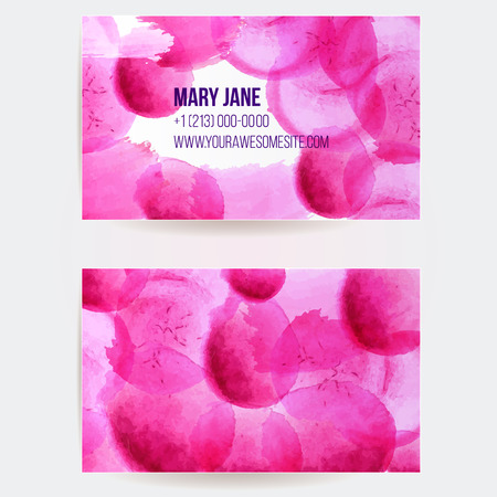 swashes: Double sided business card template with pink and violet watercolor paint swashes. Artistic vector design. Illustration