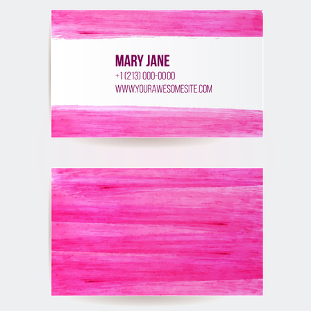 Double sided business card template with pink paint strokes. Artistic vector design.