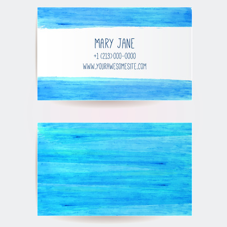Double sided business card template with blue marker paint stains and strokes. Artistic vector design. Vector