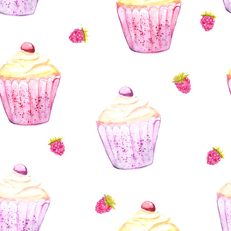 cupcake and raspberry background. Seamless vector texture with watercolor desserts. photo
