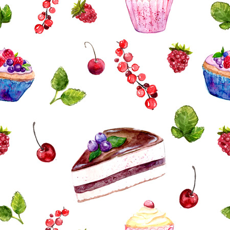 assortment: desserts seamless pattern with cakes, red currant and cherries. Food background with cafe assortment. Stock Photo