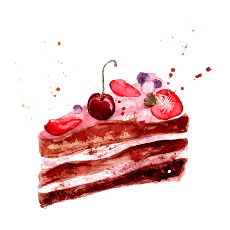 cake with pink fruit cream, cherry and strawberry. Vector dessert illustration isolated on white background. Illustration