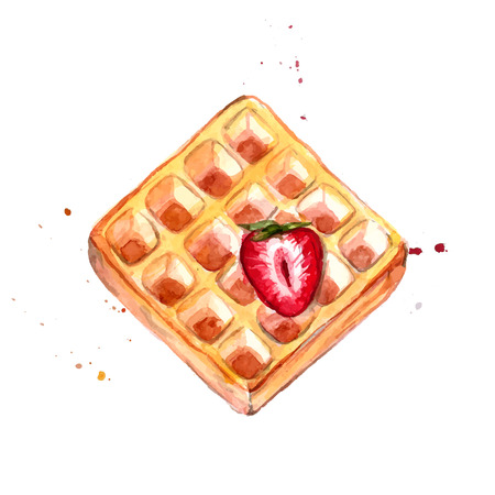 waffle with red strawberry watercolor illustration. Vector dessert painting isolated on white background.