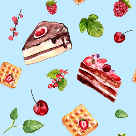 assortment: desserts seamless pattern with cakes, red currant and cherries. Food background with cafe assortment. Illustration