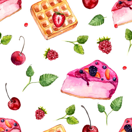 Desserts and berries seamless pattern. Vector background with sweets, leaves, cake and belgian waffle. Vector