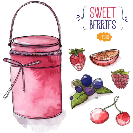 blackberries: Can of pink jam and berries. strawberry, blackberry with leaves, cherry, raspberry and orange slice. Set of hand drawn vector illustrations, watercolor and ink style Illustration