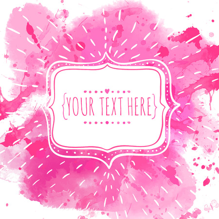 girly: Hand drawn frame with doodle bird. Pink watercolor splash background Illustration