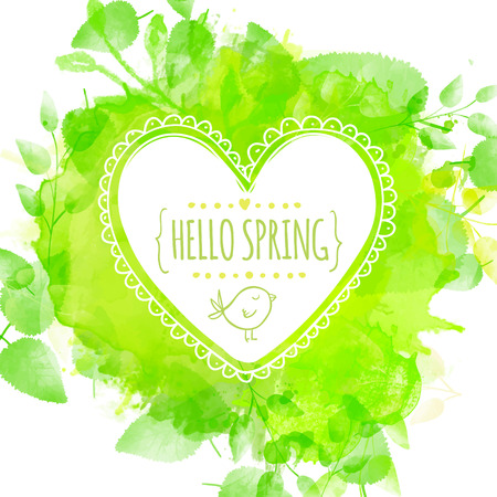 hello heart: Hand drawn heart frame with doodle bird and text hello spring. Green watercolor splash background with leaves Illustration