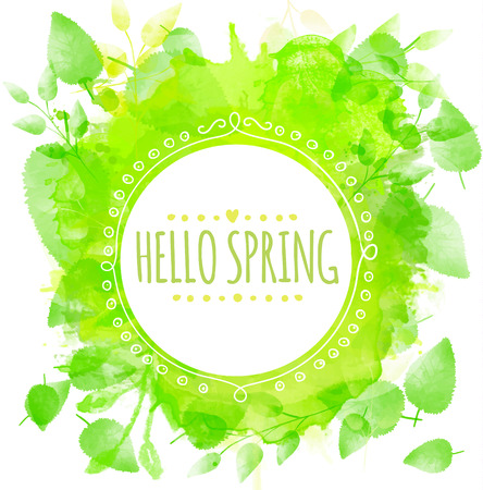 Round frame text hello spring. Green watercolor splash texture with printed leaves
