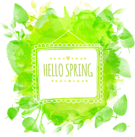 Square frame with text hello spring. Green watercolor splash background with printed leaves