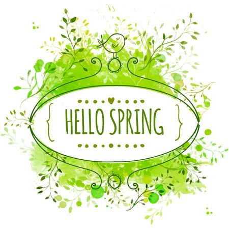 Aufwändiges Feld mit Doodle Vogel und text Hallo Frühling. Grüne Aquarell splash background Standard-Bild - 34996945
