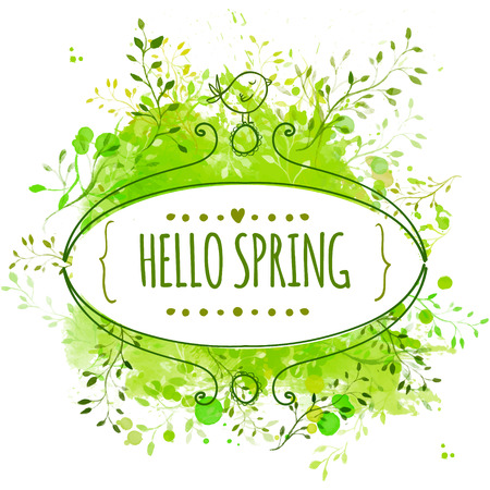 Ornate frame with doodle bird and template text hello spring. Green watercolor splash background