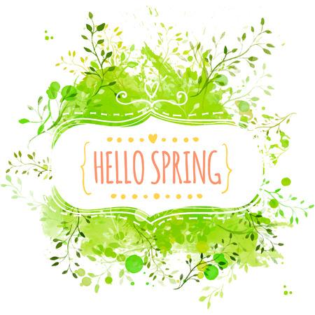 Decoratieve frame met tekst hallo lente. Groene verf splash achtergrond met bladeren