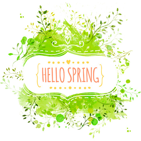 Decorative frame with text hello spring. Green paint splash background with leaves