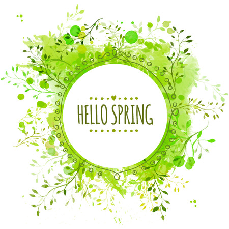 Circle frame with text hello spring. Green paint splash background with leaves