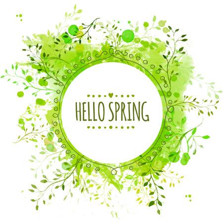 primavera: Marco del c�rculo con la primavera hola texto. Fondo de bienvenida de pintura verde con hojas