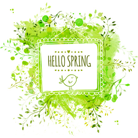 Square frame with doodle bird and text hello spring. Green watercolor splash background with leaves. Artistic vector design for banners, greeting cards, spring sales.
