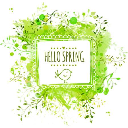 Vierkant frame met doodle vogel en tekst hallo lente. Groene aquarel splash achtergrond met bladeren. Artistieke vector ontwerp voor banners, wenskaarten, de lente verkoop.