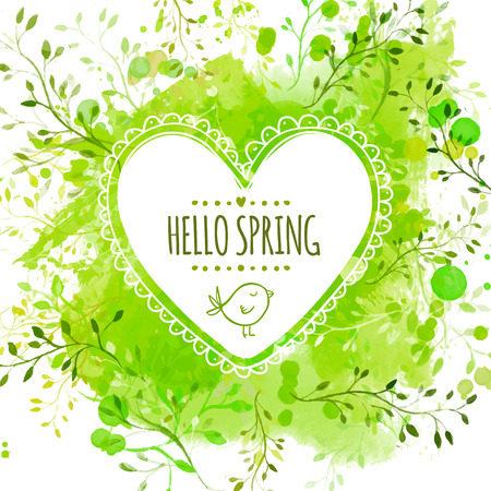 hello heart: Heart frame with doodle bird and text hello spring. Green watercolor splash background with leaves