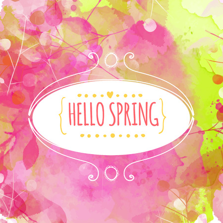 Decorative ellipse frame with text hello spring. Fresh pink and green background with paint texture and leaves traces Illustration