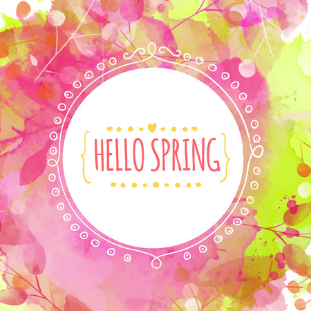 primavera: Textura verde y rosa con hojas y bayas rastros. Marco del c�rculo del Doodle con la primavera hola texto