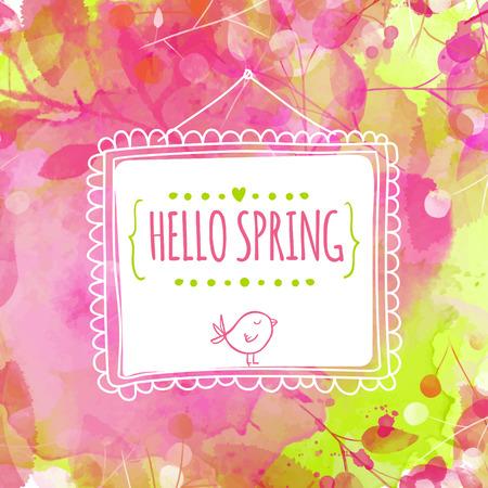 primavera: Fondo rosado y verde con textura de acuarela y deja huellas