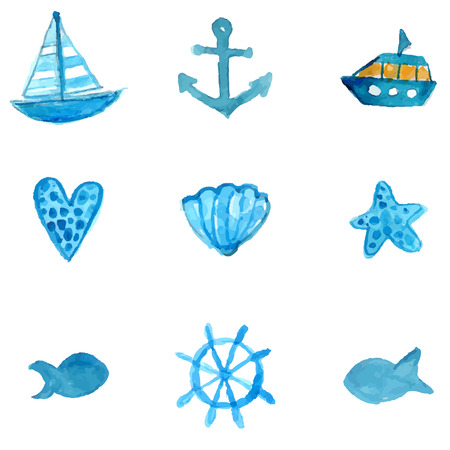 ship anchor: Nautical watercolor icons: anchor, ship, star fish and shell. Vector illustrations isolated on white background.