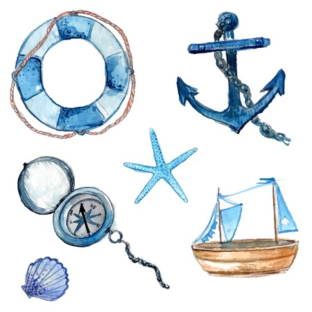 Nautical elements hand drawn in watercolor. Life buoy with rope, compass, anchor, wooden ship, star fish and shell. Art vector illustrations isolated on white background. Vector