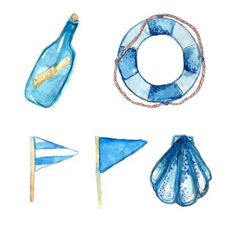 Nautical elements hand painted in watercolor. Bottle with messsage, life buoy, blue signal flags and shell. Artistic vector illustrations isolated on white background. Vector