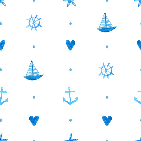 ships at sea: Marine pattern with hand painted watercolor ships, sea stars, fish and shells. Vector repeating texture. Background for greeting cards, invitations, kids party decorations