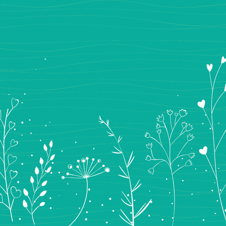 Turquoise nature background with white branches silhouette and hand drawn plants.