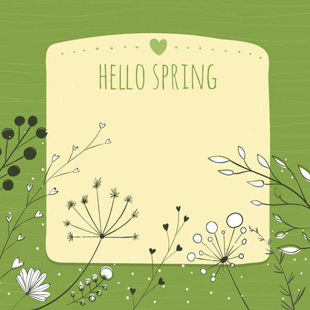 umbel: Green background with text hello spring and copy space.