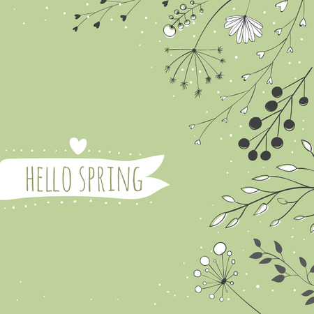 umbel: Green nature background with branches and hand drawn plants.