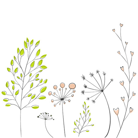 Lovely branches with leaves and twigs, modern style. Vector