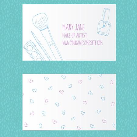 make up brush: Invente plantilla de la tarjeta de visita del artista. Dise�o del vector con el dibujado a mano ilustraciones de tubo de esmalte de u�as, cepillo del maquillaje, delineador de ojos y paleta.