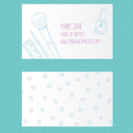 makeup artist: Make up artist business card template. Vector layout with hand drawn illustrations of nail polish tube, makeup brush, eyeliner and palette. Illustration
