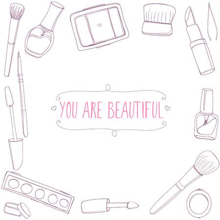 lipstick tube: Make up tools frame. Vector background with hand drawn illustrations of mascara, lipstick, brush, nail polish tube, eye shadows and other cosmetics. Illustration