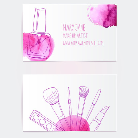 white card: Make up artist business card template. Vector layout with hand drawn illustrations of nail polish tube, makeup brush, eyeliner, lipstick and palette with pink paint swatches.