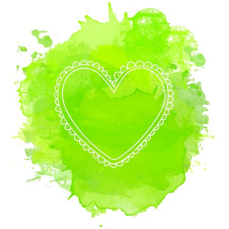 Doodle heart frame on green splash.Vector valentines day background Vector