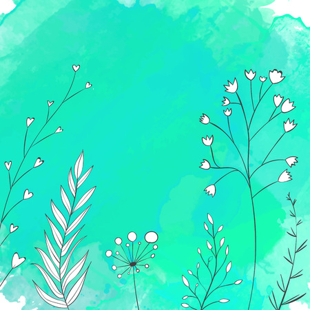 umbella: Nature turquoise background with white hand drawn plants. Vector backdrop with copyspace.