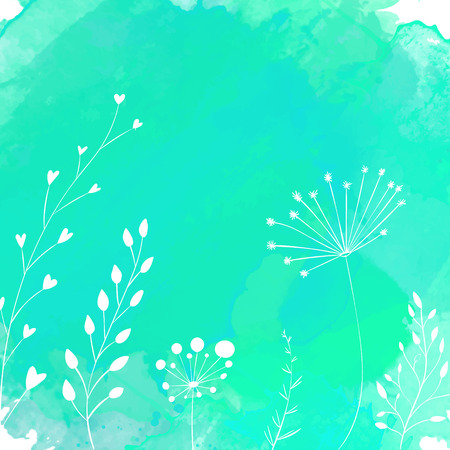 umbella: Nature background with white hand drawn plants. Vector backdrop with copyspace. Illustration