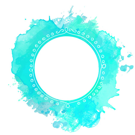 White doodle frame on turquoise paint splash background. Vector backdrop with copyspace.