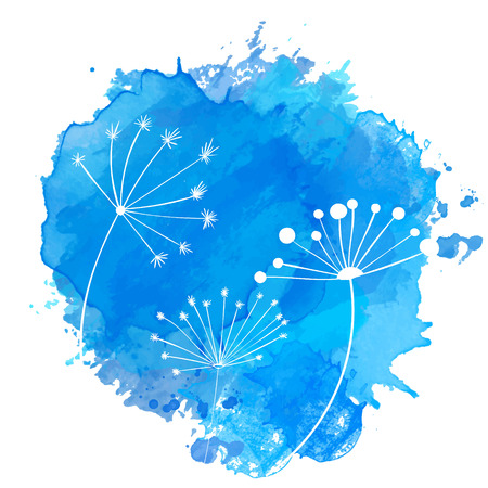 abstact: Blue paint splash with white silhouettes of umbel plants. Abstact nature vector background.