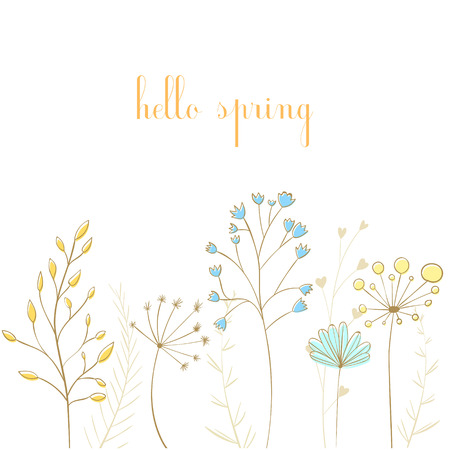 umbel: Lovely branches with leaves and text hello spring, modern vector style. Cute spring graphics set for wedding invitations, greeting cards, banners and other creative design