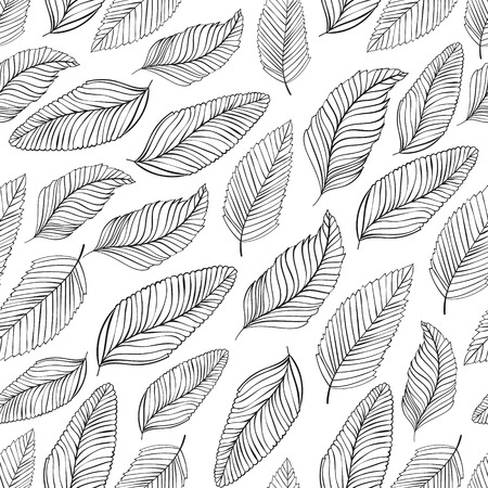 black and white leaf: Black and white leaves pattern. Seamless vector background.