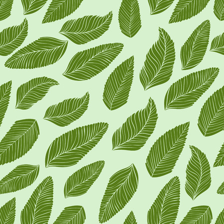 beach closed: Green leaves nature pattern. Seamless vector texture.