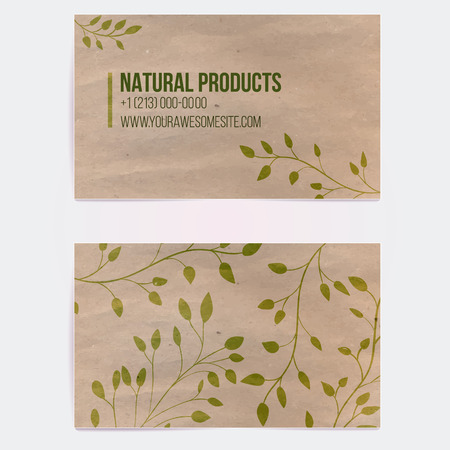 eco concept: Two sided business card for natural cosmetics store or other eco friendly product. Hand drawn on craft paper branches and plants. Vector template. Illustration