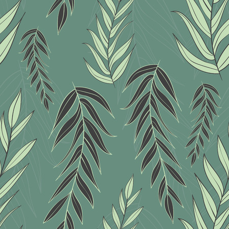 muted: Nature pattern with ornate branches with leaves. Illustration