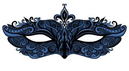 Fantasía máscara con remolinos y encajes. Accesorio de moda elegante y de lujo para masquerase. Negro y azul ilustración aislado sobre fondo blanco. Ilustración de vector