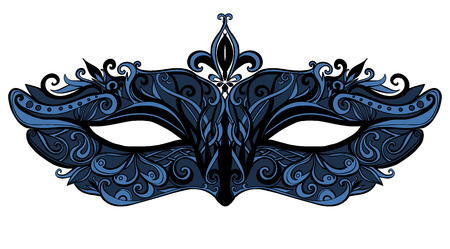 Fantasy mask with swirls and lace. Elegant and luxury fashion accessorie for masquerase.  Black and blue illustration isolated on white background.